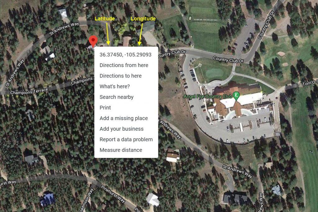 Latitude and Longitude Map - Aerial View Example
