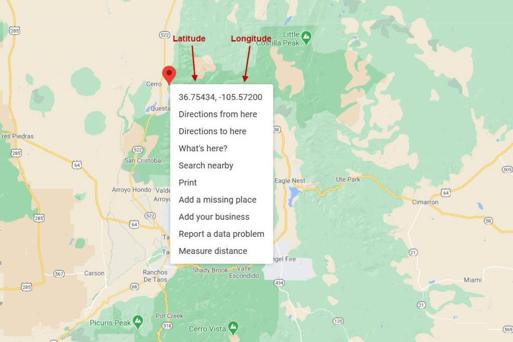 Latitude and Longitude Map - Road View Example